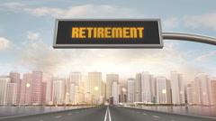 Retiremenet Traffic Sign Stock Footage