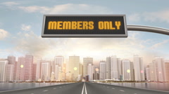 Members Only Traffic Sign Stock Footage