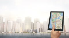 Hand Navigates In The City With Digital Tablet Stock Footage