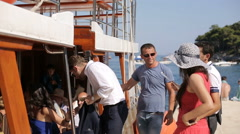 DUBROVNIK, CROATIA - People are boarding on the ship Stock Footage