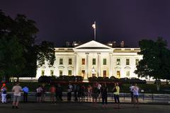 The White House building with tourists in Washington, DC Stock Photos
