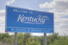 Welcome to Kentucky road sign Stock Photos