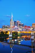 Downtown Nashville cityscape in the evening Stock Photos