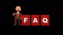 Senior 3d business man character building FAQ sign + Alpha Stock Footage