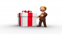 Cute 3d senior character showing present Stock Footage