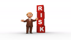 Cute 3D business character standing near risk cubes Stock Footage
