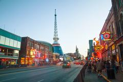 Downtown Nashville with people in the evening Stock Photos