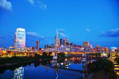 Downtown Nashville cityscape at night Stock Photos