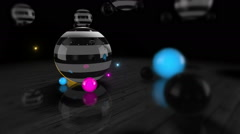 Colorful Reflective Spheres Slowly Rotating On A Wooden Floor Stock Footage