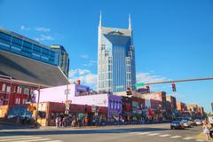 Downtown Nashville with people Stock Photos