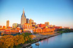 Downtown Nashville cityscape in the morning Stock Photos