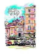 Original freehand watercolor travel card from Rome Italy with ha Stock Illustration