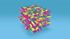 Multi Colored Floating Blocks Form Of Large Cube Shape Stock Footage