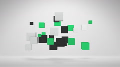 Flying Colorful 3D Cube Shapes Moving To The Off Screen Stock Footage