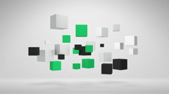 Spinning White Green And Black 3D Cubes In Empty Space Stock Footage