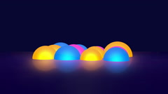 Glowing Colorful 3D Hemispheres Spinning On Dark Background Stock Footage
