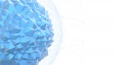 Abstract Blue Geometric Polygon Shape With Particle Effects Stock Footage