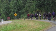 Bicycle tourist riding to Mendenhall National Park Stock Footage