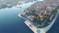 Aerial view of the old city of Zadar Stock Footage