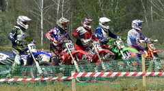 Athletes compete motorcyclists. Stock Footage