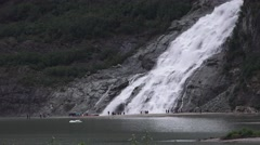 Distant view, Nugget Falls and Mendenhall Glacier 2016 Stock Footage