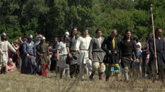 Medieval warriors during international historical festival Stock Footage