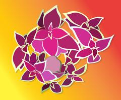 Bouquet Beautiful Pink Flower. Vector Illustration - stock illustration