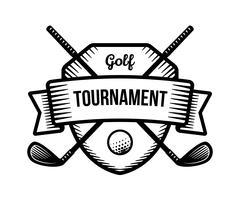 Golf vector logo. Summer individual sport tournament. Black and white badge, Stock Illustration