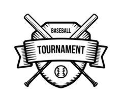 Baseball vector logo. Summer team sport tournament. Black and white badge, sh Stock Illustration