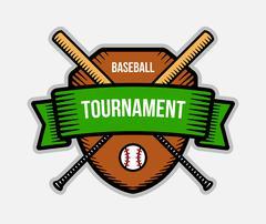 Baseball vector logo. Summer team sport tournament. Color badge, shirt mascot Stock Illustration