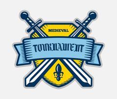 Medieval tournament fight sport vector logo. Knight, pirate, buccaneer, warri Stock Illustration