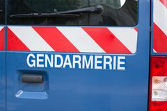 Gendarmerie sign, french police isolated on a car Stock Photos