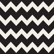Vector Seamless Black and White ZigZag Horizontal Lines Geometric Pattern - stock illustration