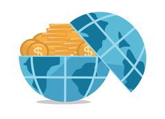 Globe full of golden coins vector illustration Stock Illustration
