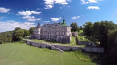 Aerial side view of an old Ukrainian castle Stock Footage