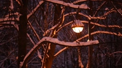 Vintage street light at night, seen through naked tree branches under snow Stock Footage