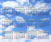 Calendar for 2017 on the background of blue sky Stock Illustration
