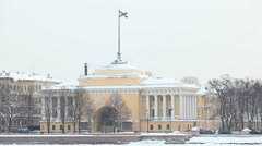 Wing of Admiralty building facing up Neva River, winter embankment view Stock Footage
