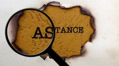 Magnifying glass on assistance concept Stock Footage