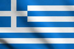 Flag of Greece waving in the wind with detailed fabric texture. - stock illustration
