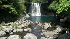 Cheonjeyeon Cascaded Waterfalls, Jeju Island, South Korea. Stock Footage
