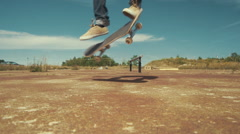 360 Flip Skateboard Trick Slow Motion Close up. Stock Footage