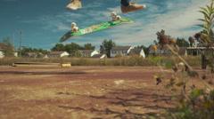 Kickflip Skateboard Trick in Slowmotion Closeup. Stock Footage