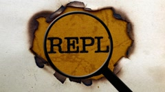 Magnifying glass on reply text Stock Footage