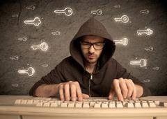 Hacker nerd guy with drawn password keys - stock photo