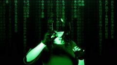 Virtual matrix girl chroma marker writing Stock Footage