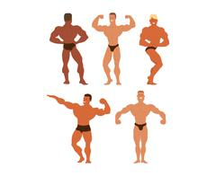 Mens physics bodybuilders vector illustration Stock Illustration