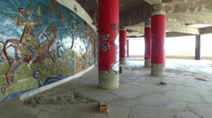 Panoramic Tower of Monsanto Lisbon - abandoned building street art grafitti Stock Footage