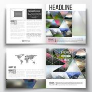 Set of square design brochure template. Abstract colorful polygonal background Stock Illustration