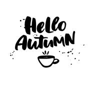 Hello Autumn. Fall vector lettering with cup of tea and ink splashes. Seasona Piirros
